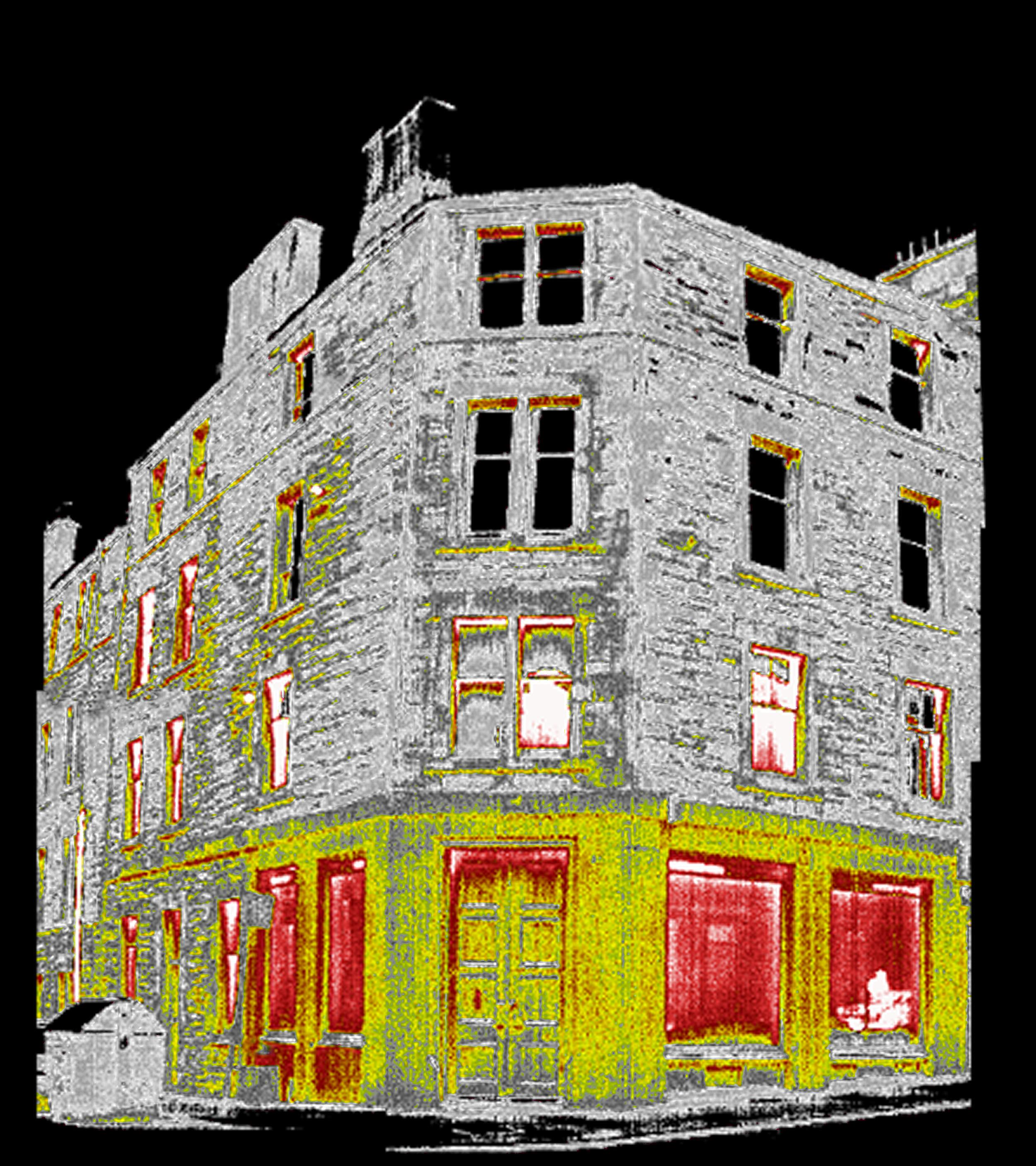 This colour coded thermal image shows exactly where this building is losing energy.