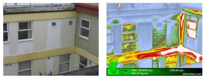 identifying leaks and cracks in buildings with infrared survey image