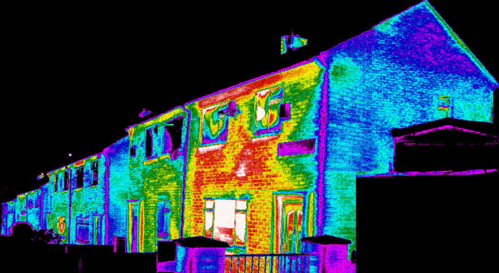 domestic housing shown in infrared