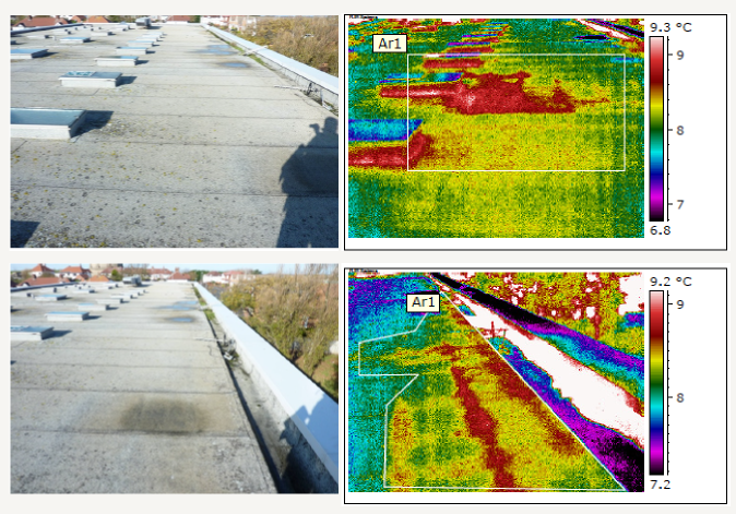 block view of roof and infrared image