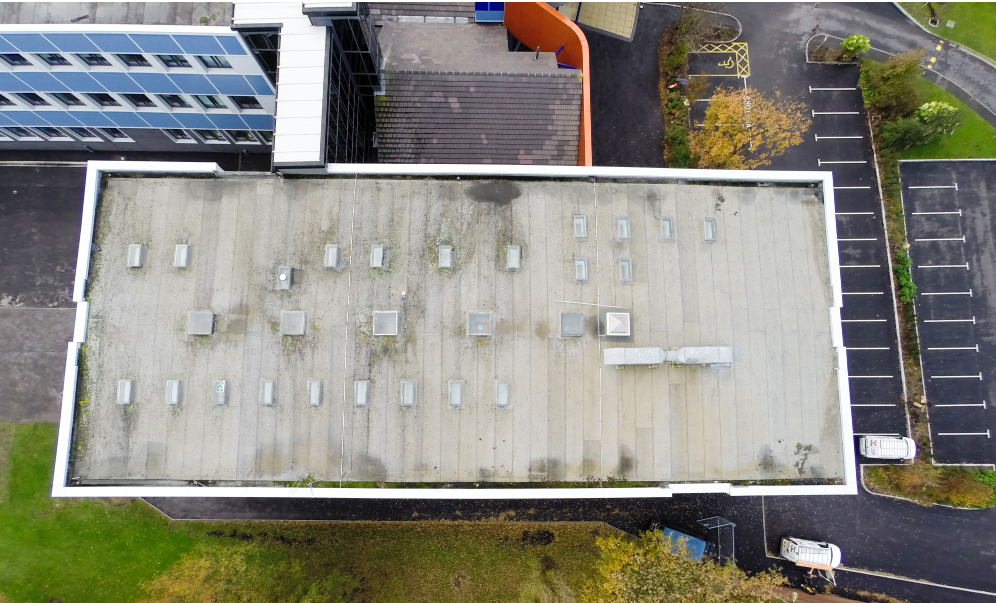 drone view of Unity Academy Roof